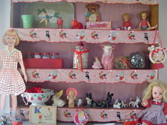Welcome to my Studio (thislittlepiggy) Tags: red dog clock dogs japan vintage studio scott heidi strawberry ballerina doll crafts 1940s 1950s caketopper supplies figurine scotty shelves suzie paperdoll jars woodruff kewpie thislittlepiggy collander