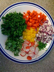 Colorful salad toppings