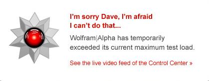 Wolfram Alpha fail screen