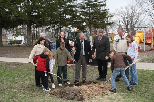 Tree Planting Ceremony at Fall River Schools. Left to right: Logo Contest Winners, Jessica Zufolo, USDA Rural Development Deputy Administrator for Rural Utilities Service, Washington D.C.; State Senator Mark Miller; Essay Contest Winner; Colleene Thomas, Office of U.S. Senator Herb Kohl; Stan Gruszynski, USDA Rural Development Wisconsin State Director; State Representative Keith Ripp; Dan Dowden, Fall River Schools Principal; Essay Winner; and Logo Contest Winner.
