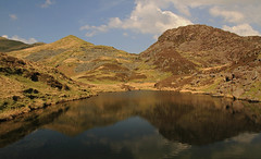 The most beautiful valley in Wales! (Susan SRS) Tags: lake mountains water sunshine wales clouds reflections landscape countryside spring scenery bluesky reservoir snowdonia cwmpennant snowdonianationalpark nantlleridge inclineplane img1719j