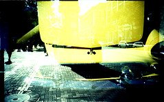 SCThunderbird on SF Street (Dave Dunne) Tags: xpro crossprocessed doubleexposure top20lomo revue top20xpro revue100 davedunne dd:camera=lomolca