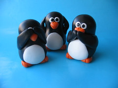See No Evil - Three Wise Penguins (fliepsiebieps1) Tags: sculpture cute bird penguin penguins no crafts seenoevil evil polymerclay clay figure hear
