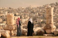 Jordanians Look out over Amman (hazy jenius) Tags: urban view citadel muslim islam amman jordan vista metropolis tradition bedouin