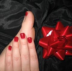 And a manicure too. (awynhaus) Tags: red black hands painted fingers nails bow manicure shiney satin merrychristmas blacksatin holidaycolors shinyredbow allimagesareprotectedundertheunitedstatesandinternationalcopyrightlawsandmaynotbedownloadedreproducedcopiedtransmittedormanipulatedwithoutwrittenpermission
