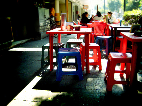Red Tables & Chairs in Mexico City