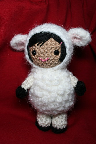 Little girl dressed as a lamb