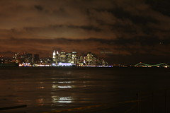 NYC @ night from Weehawken, NJ (FRANCISCO COMPANIONI) Tags: nyc ny storm reflection during downtown nj calm ufo hudsonriver weehawken charthouse hdrish verranzonbridge
