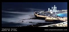Nightshot Series - 5 (Alejandro Amador) Tags: ocean espaa moon pool faro lights luces muelle mar spain nikon flickr barca waves nightshot piscina luna tenerife olas canaryislands puertodelacruz cabaa islascanarias lagomartinez alejandroamador