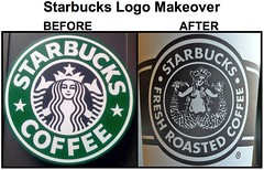 Starbucks Old Logo vs. New Logo -- Too Much? (ATIS547) Tags: cup coffee sign advertising logo spread marketing place tail leg ad advertisement starbucks pikes innuendo pike mermaid fin trademark siren suggestive sexism sexist