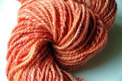 Orange Sparkly Batt (Dyed in the Wool) Tags: orange wool yarn spinning icicle fiber nylon shetland blend woollen fibre spun carded handdyed batts longdraw dyedinthewoolhandmade