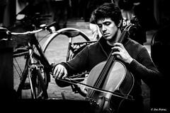 Man playing the cello (joe petruz) Tags: people music blackwhite old style black white noir torino italy street photo canon eos 650d walk intensive monochrome cello classic theatre cellist