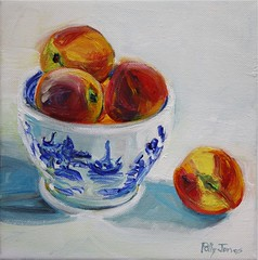 texas peaches (PollyPainting) Tags: bluewillow painting stilllife canvas white blue fruit peaches impressionism realism bowl summer pollypainting pollyjones etsy