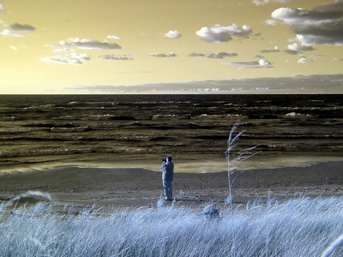 Infrared Photograph of a Photographer Taking a Photograph of The Grand Bend Sunset