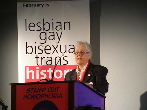 Sue Sanders speaking at  the Pre-launch of LGBT History Month 2008 at the Royal Courts of Justice - 26 November 2007