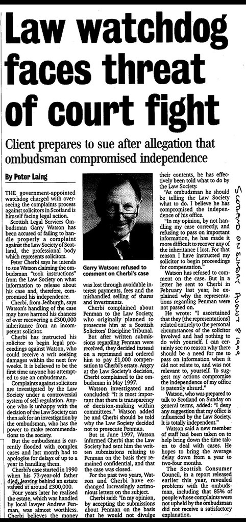Law Watchdog faces threat of court fight - Scotland on Sunday 9 August 1999