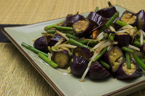 Spicy eggplant and garlic shoots