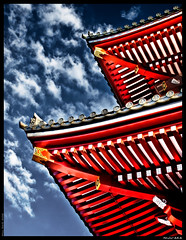 Niju-aka (William Said) Tags: blue roof red japan architecture asian temple sensoji japanese tokyo wooden nikon tiles handheld oriental nikkor hdr jinja eaves dentile photomatix d80
