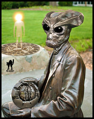 VIRTUAL ALIEN SCULPTURE (The PIX-JOCKEY (visual fantasist)) Tags: portrait sculpture art face monster bronze photoshop joke alien contest fake hum