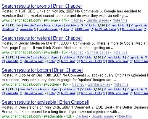 Brian Chappell.com's site: search SERPs in Google SERPs| Google Analytics Leaking Data