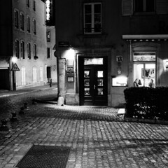 "Metz (Peter Gutierrez) Tags: photo europe european la france french français française lorraine moselle metz city town urban street streets gothic heritage architectural architecture ancient monument monuments historic history historiques ancienne night black white bw dark evening nighttime nite square format peter gutierrez ""peter gutierrez"" nocturne nocturnal nacht notte noche nuit sidewalk pavement public film photograph photography"