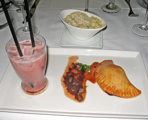 Lacquered Duck Meat  Pie with Rhubarb, Red Wine & Louisiana Strawberry Jam, and a Louisiana Strawberry Cream Soda