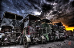 Bus Race (@!ex) Tags: old sunset urban bus abandoned clouds america landscape graffiti colorado pentax antique homeless brokenglass sigma denver creepy handheld junkyard hdr doubledecker railroadtracks aficionados sigma1020mm urbanexplorer mywinners k10d pentaxk10d trashbit alexbenison
