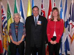 Andre J. Galipeault C.M. with Kirsty Tomlinson, geographer, a new Canadian citizen on his left