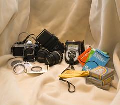 Nikon FM2 and toys (Josh.Zev) Tags: camera old light slr film lens toy nikon kodak flash scene filter meter filters fm2 lenses justpentax
