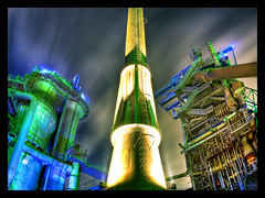 Blast Furnace (Jrg Dickmann) Tags: industry night germany deutschland nacht steel illuminated fisheye nrw furnace landschaftspark industrie ruhrgebiet soe hdr stahl blastfurnace ruhrpott hochofen 3xp routederindustriekultur defished duisburgnord sigma15mm canon400d hdratnight