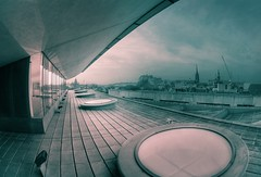 Museum terrace, Edinburgh (The Other Martin Tenbones) Tags: winter sky museum scotland edinburgh cityscape fisheye greenred desat