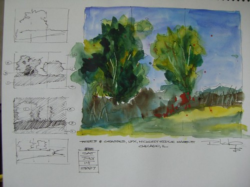 Watercolor Sketch - Trees & Grasses