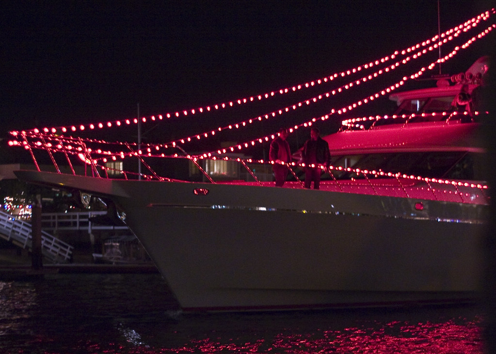 Yacht with red lights