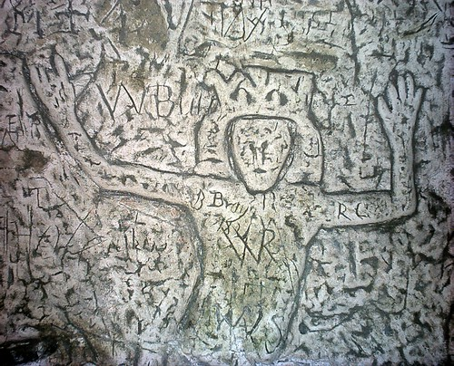 Knight Templar carvngs in Royston Cave, Hertfordshire, England
