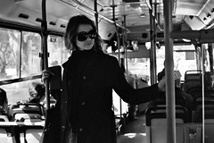 watch through the window (Kadria Simons) Tags: windows blackandwhite bw bus slr film sunglasses 35mm israel transport lunchhour seats transportation february haifa publictransport 2008 jaclyn buspass lunchbreak punchcard bussystem publicbus buscard