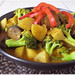 Eggplant and potato Thai red curry with rice