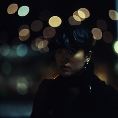 nocti girl (memetic) Tags: city 120 6x6 night mediumformat square lights kodak bokeh tl melbourne federation pentaconsix sonnar 180mm epl 400x kityip