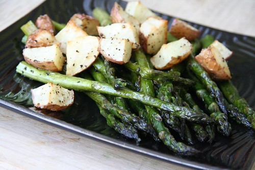 Asparagus and new potatoes: roasted