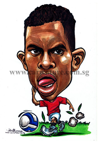 Caricature of Nani colour watermark