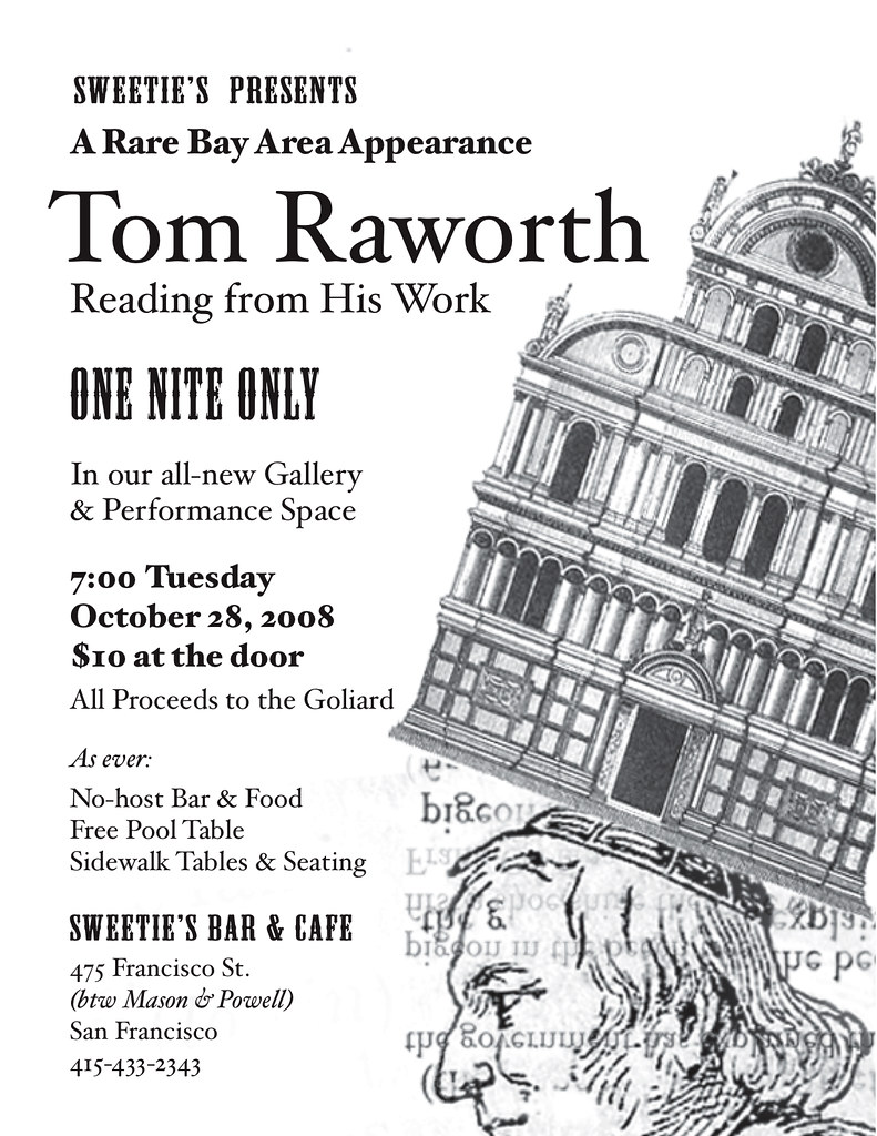 TOM RAWORTH OCT 28 SWEETIE'S BAR & CAFE SAN FRANCISCO