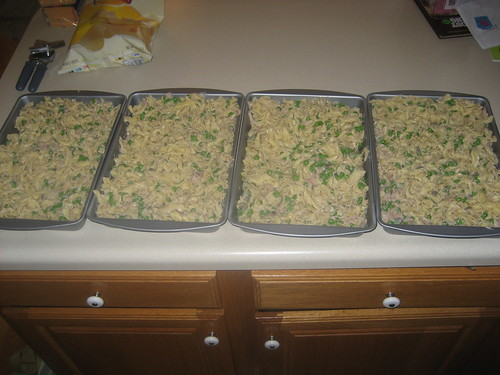 Four mostly-finished casseroles