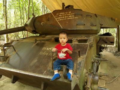 Julian on a tank