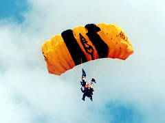 Army Golden Knights parachutist, State Fair of Texas (StevenM_61) Tags: army dallas texas military fair texasstatefair 1995 skydiver parachute parachutist statefairoftexas fairpark goldenknights armygoldenknights
