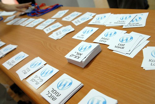 Wordcamp nametags in Hebrew