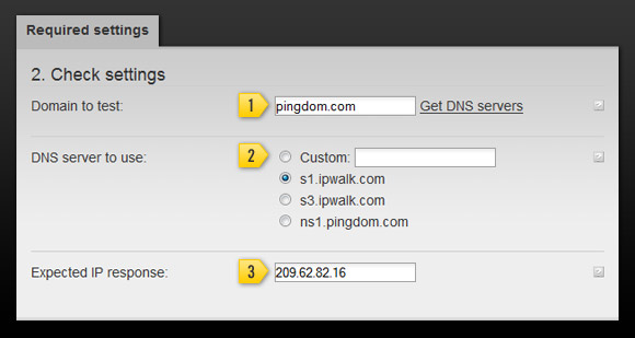 DNS monitoring setup with Pingdom