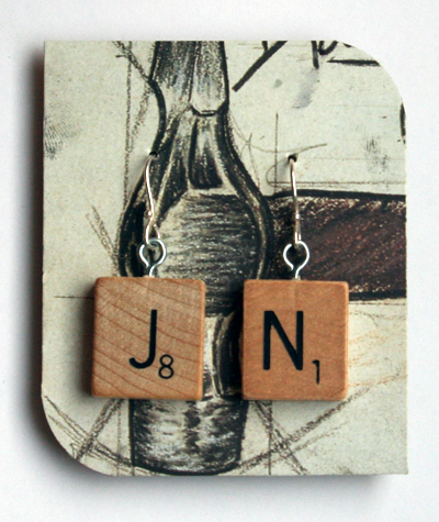 Scrabble tile earrings for Jenny