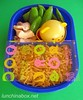 Snap pea bento lunch, covered