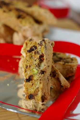Cherry, chocolate and pistachio biscotti