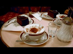 Sachertorte and cappuccino