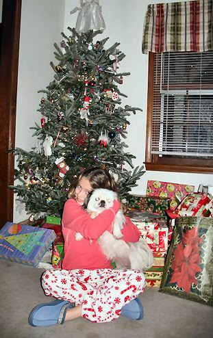 The family with pets and Christmas tree
